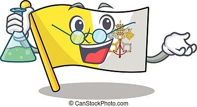 Funny and Smart Professor flag vatican city Scroll mascot holding glass tube