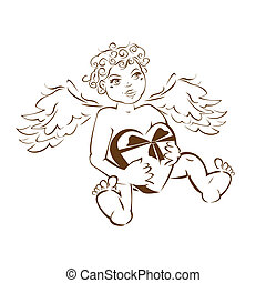 Funny angel with heart gift box.