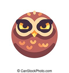 Funny angry brown owl face flat icon