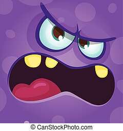 Funny angry cartoon monster face. Halloween illustration. Prints design for t-shirts