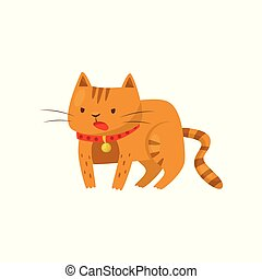 Funny angry cat, cute domestic pet animal cartoon character vector Illustration on a white background