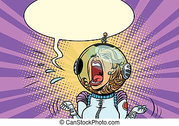 Funny angry woman astronaut. Comic book cartoon pop art...