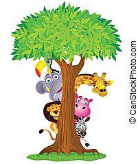 Funny animal cartoon hiding behind tree