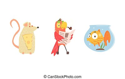 Funny animal characters in different situations, mouse with cheese, parrot reading newspaper, fish in aquarium vector Illustration