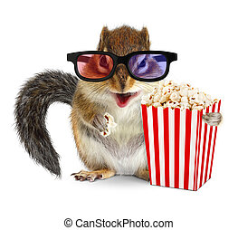Funny animal chipmunk watching movie with popcorn