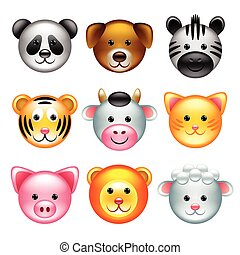 Funny animal faces icons vector set