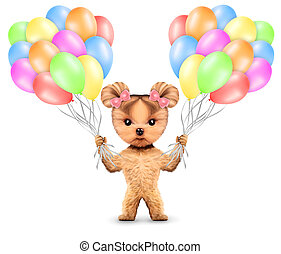 Funny animal keep a bunch of balloons isolated on white...