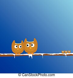 funny animal on the snow branch art vector illustration