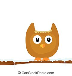 funny animal on the snow branch vector illustration part two