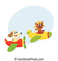 Funny animal pilot characters flying on airplane - bear and dog