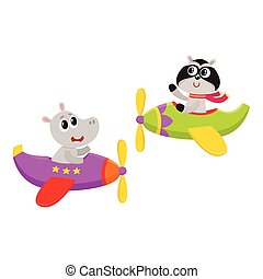 Funny animal pilot characters flying on airplane - hippo and...
