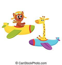 Funny animal pilot characters flying on airplane - bear and giraffe