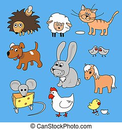 Funny animals cartoon hand drawn Vector illustration icon set