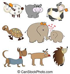 funny animals cartoon set isolated on white background
