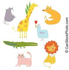 Funny animals cartoon set