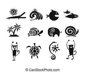 Funny animals collection, black silhouette for your design