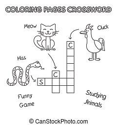 Funny Animals Coloring Book Crossword