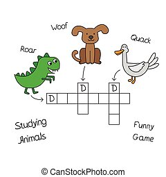 Funny Animals Crossword for Children