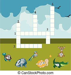 Funny animals crossword for kids.