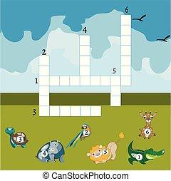 Funny animals crossword for kids.