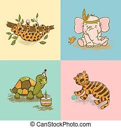 FUNNY ANIMALS Cute Cartoon Circus Zoo Hand Drawn Vector Set