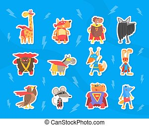 Funny Animals Dressed as Superheroes Stickers Set, Funny Giraffe, Dog, Sheep, Bear, eagle, Mouse, Hippo in Masks and Capes Cartoon Vector Illustration