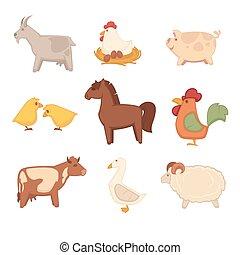 Funny animals from farm isolated cartoon illustrations set