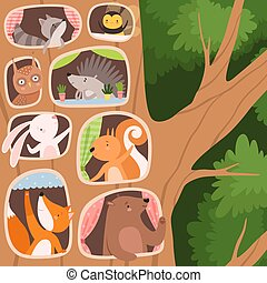 Funny Animals Inside the Tree Hollow Arranging Their Cozy Homes Vector Illustration