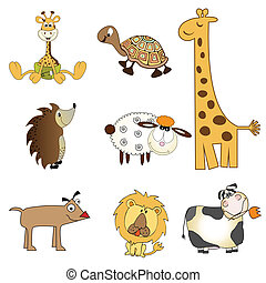 funny animals items set in vector format, isolated on white background