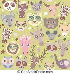 funny animals muzzle seamless pattern, Green background with stars. Vector