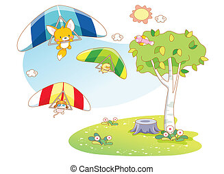 funny animals playing parachuting