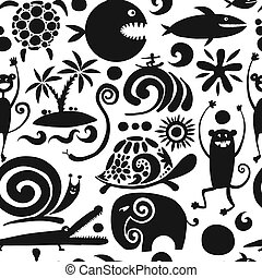 Funny animals, seamless pattern for your design. Vector ...