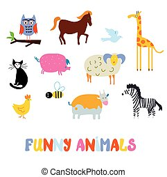 Funny animals set - simple design