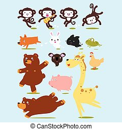 Funny Animals Vector Cartoon illustration