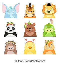 Funny animals wearing different hats set, elephant, tiger, lion, panda, bear, dinosaur, cow, cute cartoon animal avatars vector Illustration on a white background