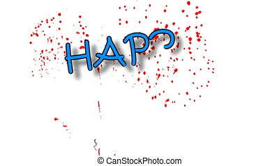 Funny animation spelling Happy Birthday