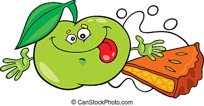 funny apple and pie - illustration of funny green apple and...