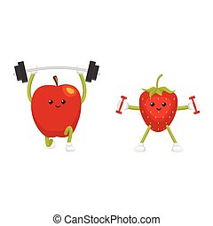 Funny apple and strawberry characters working out
