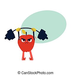Funny apple working out in gym, lifting barbell