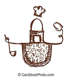 Funny apron with kitchen utensils sketch for your design
