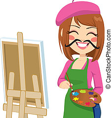 Funny Artist Mustache - Happy brunette artist woman with...