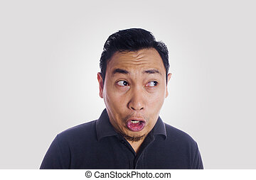 Funny Asian Man Close Up Unhappy Silly Face