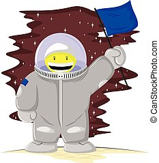 funny astronaut with a flag