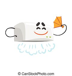 Funny automatic hand dryer character with smiling face, humanized home electrical equipment vector