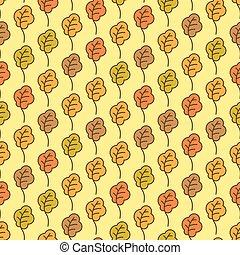 Funny autumn oak leaves seamless pattern. Autumn background