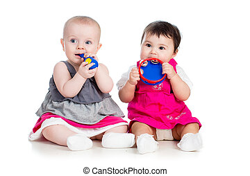 Funny babies girls  with musical toys
