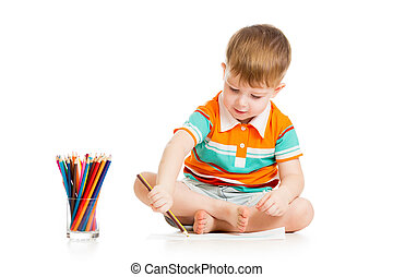 funny baby boy drawing with color pencils