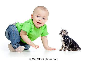 funny baby crawling to cute cat