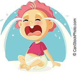 Funny Baby Crying Vector Cartoon Illustration
