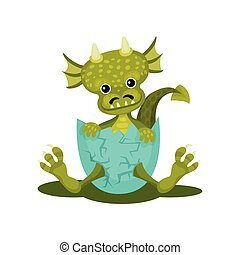 Funny baby dragon in blue broken egg shell. Green mythical monster with cute muzzle. Flat vector icon